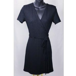 Zara Trafaluc Black Ribbed Tie-Waist Wrap Dress